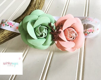 Flowers and antlers headband/leather rossette headband/mint and pink/ws74