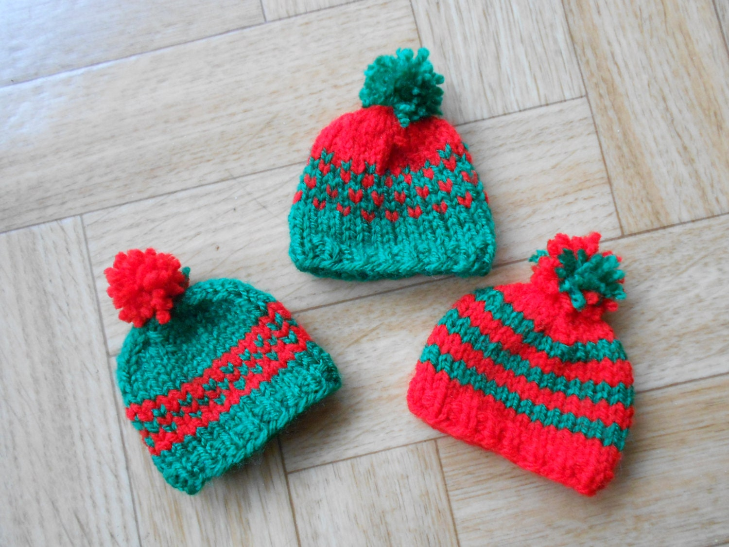 Red and green ornaments Knit mini hat by CuteCreationsByLea