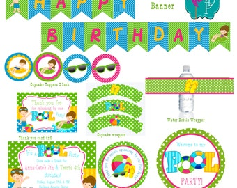 Boy Girl Pool Party Printable Party Pack Girl