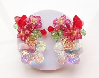 Red Earrings - Floral jewellery - Stud earrings - Glamorous jewellery - Red cluster earrings - Red floral earrings - Crystal jewellery