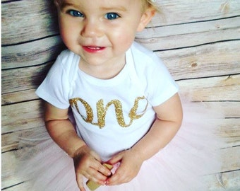 First Birthday Outfit Girl | 1st Birthday Girl Outfit | Pink and Gold First Birthday Girl | One Year Old Birthday Outfit