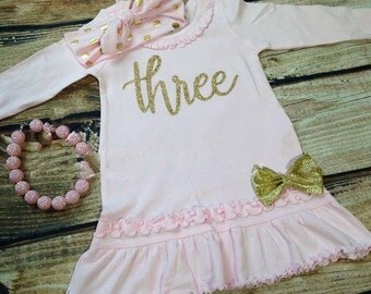 Pink and Gold Third Birthday Outfit | Pink and Gold Three | Third Birthday Outfit | 3rd Birthday Outfit for Girls