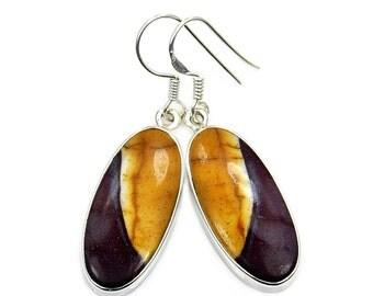 Australian Mookaite & Sterling Silver Dangle Earrings ; AB197