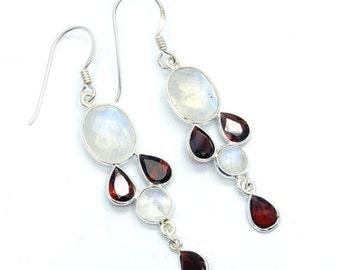 Rainbow Moonstone, Garnet & Sterling Silver Dangle Earrings ; U763