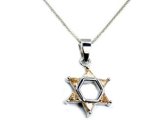 Jewish Star of David Peach CZ & .925 Sterling Silver Pendant Necklace, T80X16