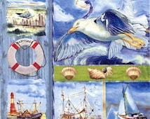 4 Decoupage Napkins | Beach Napkins with Boats Shells  Seagull | Summer Napkins|Marine Napkins|Seaside Napkins|Paper Napkins for Decoupage