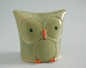 "Owl, ceramic,pale green with orange,OOAK 3.5""tall,with goodnight poem"