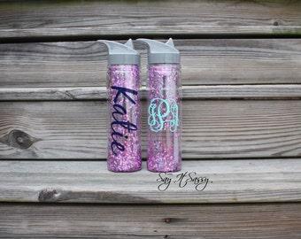 Monogrammed Glitter Water Bottle - Pink Glitter Water Bottle - Confetti Glitter Water Bottle - Monogrammed Water Bottle Glitter Waterbottle