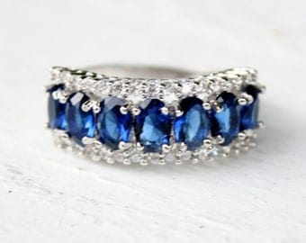 Vintage Blue & White Sapphire Sterling Silver Plated Ring-Size 8