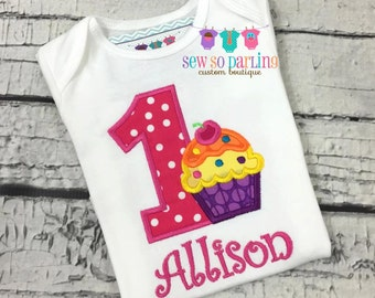 1st Birthday Girl Cupcake Outfit - Baby Girl Cupcake Birthday Outfit - Cupcake Birthday Shirt- 1st Birthday Outfit bright colors