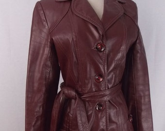 REDUCED** Oxblood Burgundy Red Leather Trench Coat XS