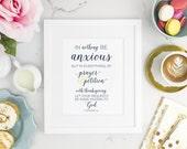 Prayer and Petition - Christian Artwork - Art Print - Philippians 4:6 Print - Bible Verse Print - Bible Artwork - Anxiety Print