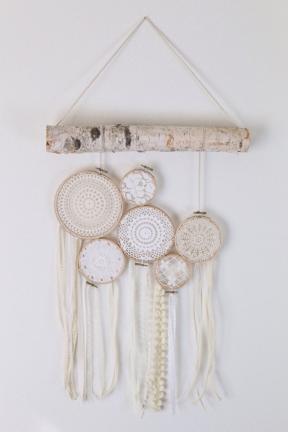 Vintage Baby Wall Decor : Baby decor lace wall hanging and birch