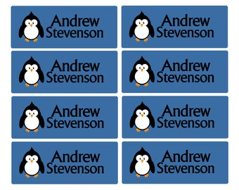 100ct Dishwasher Safe Penguin - Baby Bottle Labels, Day Care Labels - Waterproof Kids Name Label