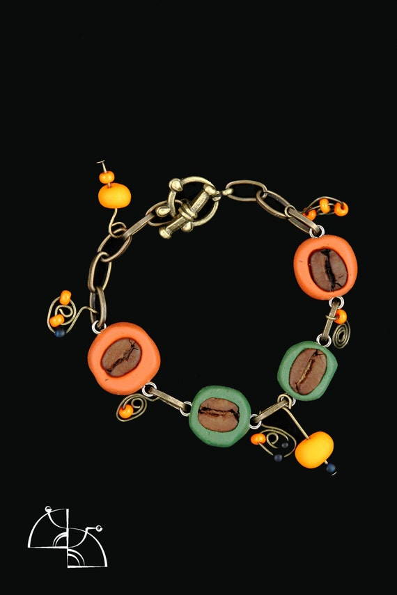 Funny Coffee Jewelry. jewelry set, coffee necklace, green earrings, coffee bracelet. Cool gift for coffee lover.