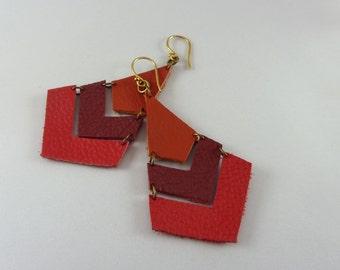 Geometric Leather Earrings, Geometric Jewelry, Lightweight Earrings, Chevron Earrings, Tri Colored Leather Earrings