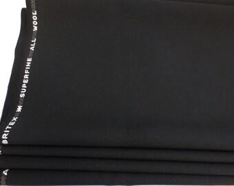 """Britex Superfine All Wool Black Fabric Yardage 60"""" Wide x 1 Yd Suit Clothing Quality Wool Fabric"""