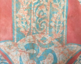 Batik wall hanging Hand of Fatima or Hamsa.Beatiful House warming gift. Home Decor.