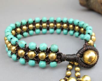 Turquoise Beaded Woven Bracelet with Brass Bead.