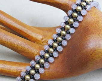 Rose Quartz Beaded Woven Bracelet with Brass Bead.