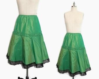 50s Green Petticoat M / 50s Taffeta Petticoat or Can Can Skirt / 50s Crinoline L Deadstock