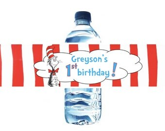Dr Seuss Water Bottle Labels - First Birthday Party - Dr Seuss Birthday Labels - Customizable - Digital Download - Printable