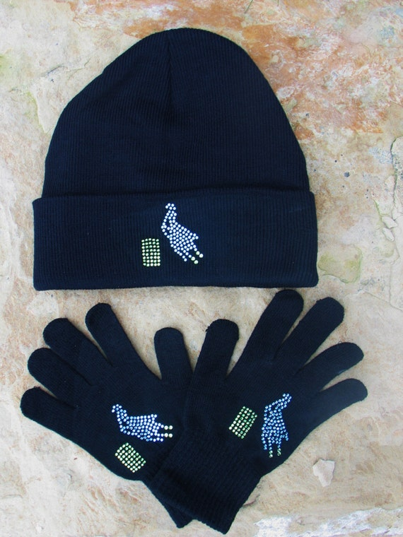 Barrel Racer Beanie Glove Set, Knit Glove, Knit Beanie, Barrel Racer, Gift Set