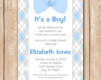 Little Man Baby Shower Invitation | Boy, Bow Tie, Suspenders - 1.00 each printed or 10.00 DIY file