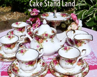 Vintage Tea Set. Royal Albert Old Country Roses  tea set for 4 people with cake stand and teapot