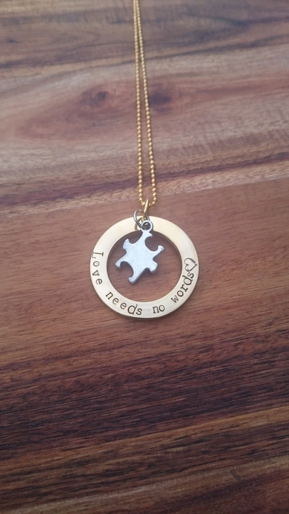 Hand Stamped Necklace with Puzzle piece charm- Gold Stainless Steel