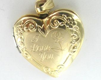 10kt Yellow Gold Locket Heart Photograph photo I love you Fine Jewelry