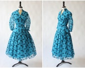 Vintage original 1950s 50s Peggy Page flocked floral nylon dress UK 12 14 US 8 10 M
