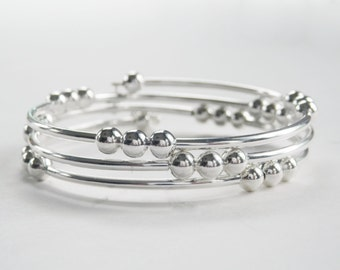 Silver Coil Bracelet, Three Row Bracelet,  Memory Wire Bracelet, Silver Tubes and Beads, Silver Beaded Coil, Bold Wrap Bracelet, Plus Size