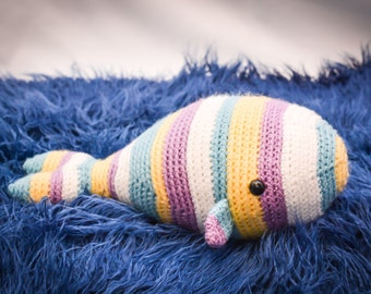 Crocheted Whale STRIPED OR SOLID Stuffed Animal/Toy Amigurumi (Made to Order) More Colors Available