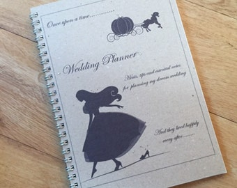 A5 Wedding Planner, Bride to be Wedding Notebook, Journal  - CINDERELLA Inspired