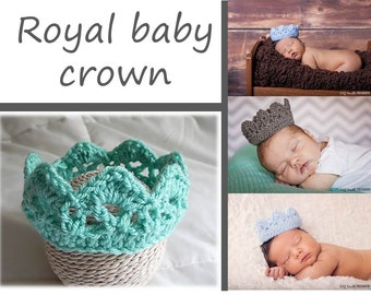 Knit Baby Crown, Aqua ocean baby crown, Crochet Royal Baby Crown, ALL COLORS Newborn Photography Prop Royal Crown Hat Prince Princess