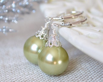 Sage Green Glass Pearl Earrings, Christmas Balls, Silver Plated Lever Earwires, Fun Holiday Jewelry