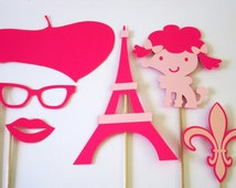 Paris Photo Booth Props in pink-6 pieces.