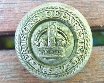 Antique Uniform Button Prisons Department N.S.W. ( New South Wales)  Early 20th Century Jail Warden Button Australia Made by Firmin London