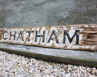 Chatham Cape Cod Sign Ma NY Wood Beach Sign Large wood Sign Large Beach Sign Beach decor Weathered Wood Sign Beach House Decor