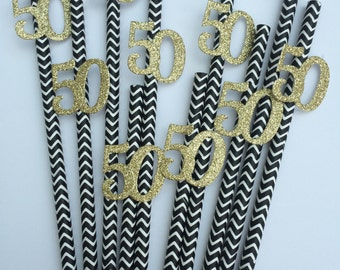 Set of x10 stunning 50th birthday party straws