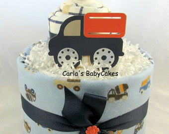 Boy diaper cake | Blue diaper cake | Baby shower gift | Baby sprinkle gift | Baby diaper cake | Truck diaper cake | Baby shower decoration