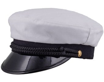 Maciejowka - traditional Polish cap similar to Fiddler / Breton / Greek fisherman style made of cotton - white and black with lacquered peak