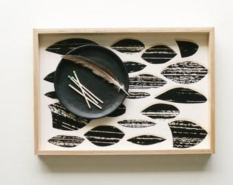 Ottoman Tray | Decorative Tray | Black + White Modern Minimal Wood Serving Tray | Coffee Tray | Bed Tray | Breakfast Tray | Vanity Tray