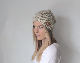 Chunky Knit Slouchy Hat   oatmeal   beige/tan   THE BUTTONE
