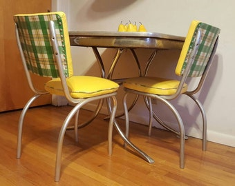 Unique Pair of 1940's Reupholstered Yellow Vinyl/Green Plaid Retro Dinette Chairs-No table; Mid Century Kitchen Chairs