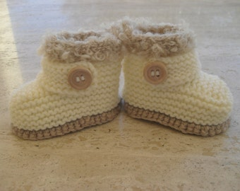Knitted Baby Booties, Baby Girl Booties, Baby Boy Booties - Size 3 to 6 Months Ready Made
