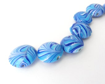Blue Lentil Glass Beads, Swirl Lentil Beads, Glass Lentil Beads, Blue Lentil Beads, Blue Swirl Beads- 18mm x 18mm x 10mm Beads - (8 pieces)