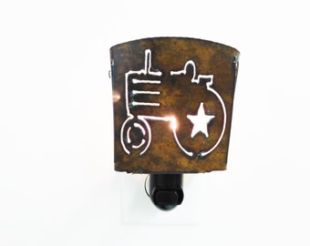 TRACTOR nightlight night light made of Rustic Rusty Rusted Recycled Metal
