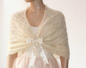 Wedding Shawl, Bridal Shawl, Bridal Wedding Stole, Ivory Shawl, Hand Knit Shawl, Ivory Capelet, Wedding Capelet, Bridesmaids Gift Shawl